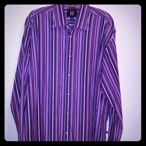 Men's Long Sleeved Purple Tommy Hilfiger Shirt XL